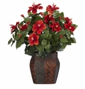 "24"" Artificial Hibiscus Silk Flower Arrangement with Vase Silk Plant"