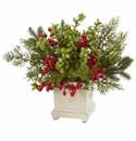 "12"" Holiday Berry and Pine Artificial Arrangement"