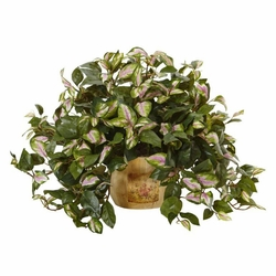 "19"" Artificial Hoya Plant Arrangement in Wooden Pot"