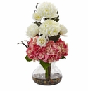 "19"" Silk Hydrangea Flower and Mum Arrangement in Vase - Pink White"
