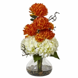 "19"" Silk Hydrangea Flower and Mum Arrangement in Vase - White Orange"