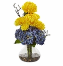 "19"" Silk Hydrangea Flower and Mum Arrangement in Vase - Yellow Blue"