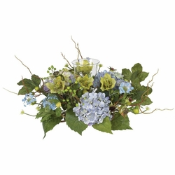 "9"" Silk Hydrangea Candleabrum Centerpiece Flower Arrangement"