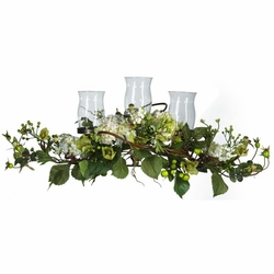 "12.5"" Silk Hydrangea Triple Candleabrum Centerpiece Arrangement"