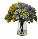 "11"" Hydrangea with Glass Vase Artificial Flower Arrangement"