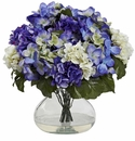 "14.5"" Silk Flower Hydrangea Arrangement with Large Vase"
