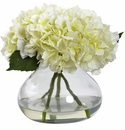 """9"""" Large Blooming Hydrangea with Vase in Cream Color"""