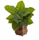 Large Leaf Philodendron Artificial Plant in Metal Planter (Real Touch) -