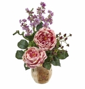 """17"""" Large Silk Rose and Dancing Daisy Flowers in Wooden Pot - Pink"""