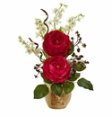 """17"""" Large Silk Rose and Dancing Daisy Flowers in Wooden Pot - Red"""