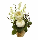 """17"""" Large Silk Rose and Dancing Daisy Flowers in Wooden Pot - White"""
