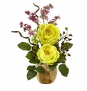 """17"""" Large Silk Rose and Dancing Daisy Flowers in Wooden Pot - Yellow"""