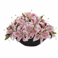 "4.5"" Lily Centerpiece Artificial Floral Arrangement - Pink"