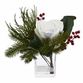 "13"" Magnolia Flower & Berries Artificial Arrangement in Vase"