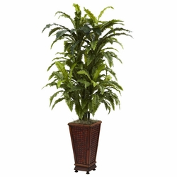 "57"" Silk Marginatum Floor Plant with Decorative Planter"