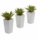 """9"""" Mini Artificial Agave Plant with White Planter (Set of 3)"""