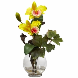 Mini cattleya wfluted vase silk flower arrangement yellow 145 mini cattleya wfluted vase silk flower arrangement mightylinksfo