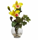 "14.5"" Mini Cattleya w/Fluted Vase Silk Flower Arrangement"