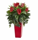 Mixed Anthurium Artificial Plant in Red Planter -