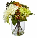 "10.5"" Mixed Silk Dahlia and Mum Flower Arrangement in Glass Vase"