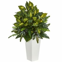 "35"" Mixed Emerald Philodendron Artificial Plant in White Tower Planter"