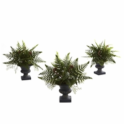"10"" Mixed Fern Bush with Urn (Set of 3)"