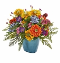 Mixed Floral Artificial Arrangement in Blue Vase -