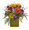 Mixed Floral Artificial Arrangement in Green Vase -