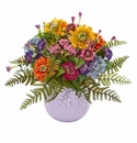 Mixed Floral Artificial Arrangement in Purple Vase -