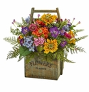 Mixed Floral Artificial Arrangement in Wood Basket -