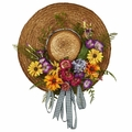 "18"" Mixed Silk Flower Hat Wreath Arrangement"