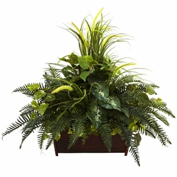 "Large 36"" Mixed Grass & River Fern with Wood Planter"