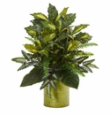 "27"" Mixed Greens in Green Tin Planter Artificial Plant"