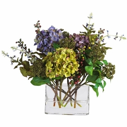 Mixed Hydrangea w/Rectangle Vase Silk Flower Arrangement