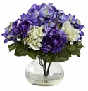 "11"" Artificial Flower Mixed Hydrangea with Vase"