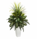 "48"" Mixed River Fern and Dogtail Artificial Plant in White Tower Planter"