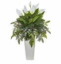 "36"" Mixed Spathifyllum Artificial Plant in White Tower Vase"