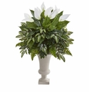 Mixed Spathifyllum Artificial Plant in White Urn -