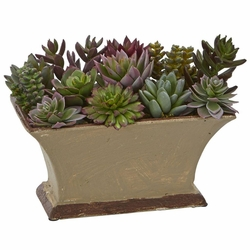 "6.5"" Mixed Succulent Artificial Plant Arrangement in Vase"