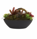 """8.5"""" Artificial Mixed Succulent Cactus Arrangement with Oval Black Container"""