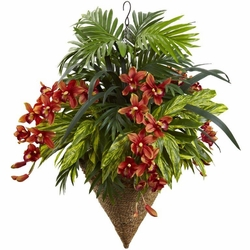 "36"" Mixed Tropical Artificial Plants & Cymbidum Orchid Hanging Arrangement in Basket"