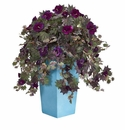 Morning Glory Artificial Plant in Turquoise Planter -