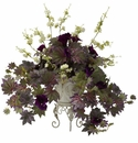 "22"" Artifical Morning Glory & Cherry Blossoms Silk Plant Arrangement with Metal Planter"