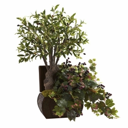 "32"" Olive Tree & Grape Leaf with Chest"