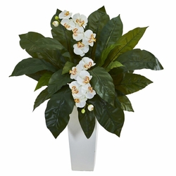 "30"" Orchid and Birdsnest Artificial Flower Arrangement in White Tower Planter"