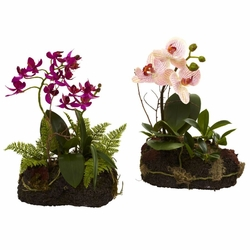 "10"" Artificial Orchid Island Plants - Set of 2"