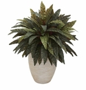 Peacock Artificial Plant in Sand Colored Oval Planter -