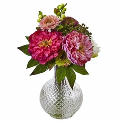 "14"" Silk Peony and Mum Flower Arrangement in Glass Vase"
