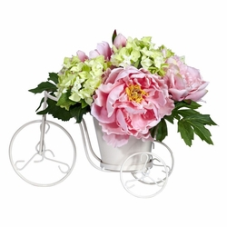Peony & Hydrangea Tricycle Silk Flower Arrangement