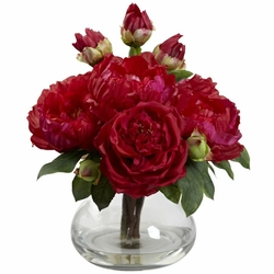 """14.5"""" Artificial Silk Flowers Peony and Rose Arrangement in Vase"""